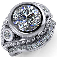 Guinevere Round Moissanite Full Bezel Split Shank Milgrain Engagement Ring