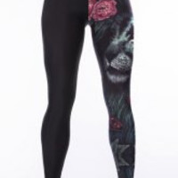 Black Elastic Waist Lion Print Pants