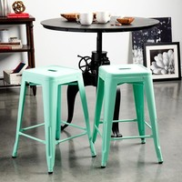 Just a Hint of Mint 24 inch Gloss Bar Stools - Set of 2
