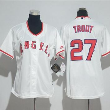 Women's Los Angeles Angels #27 Mike Trout Majestic Cool Base Player Jersey