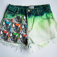 Vintage High Waist Green Ombre Distressed Denim Cut Off Quilted Cat Shorts