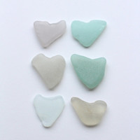 Sea Glass Hearts Beach Glass Hearts 6 pcs