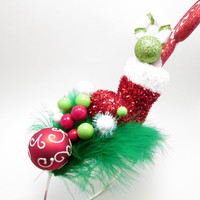 Wacky Tacky Christmas themed Whoville Inspired Mistletoe, Stocking, & Candy - crazy elf hat - holiday party - Ugly Christmas Sweater
