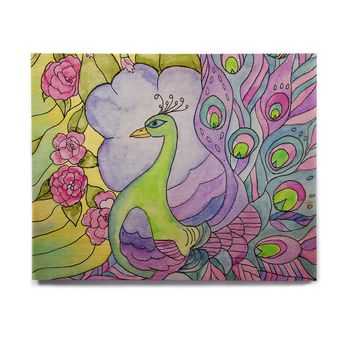 "Catherine Holcombe ""Stained Glass Watercolor Peacock"" Purple Green Birchwood Wall Art"