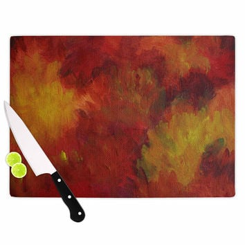 "Cyndi Steen ""Winsor Flower"" Red Yellow Cutting Board"