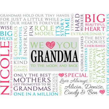 Personalized Grandmother Word Art.  Unique Mother's Day gift.