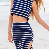 Stripe Crop Top and Slit Skirt Two Piece B005225