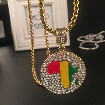 Shiny Stylish New Arrival Gift Jewelry Hot Sale World Map Hip-hop Club Necklace [6542762435]
