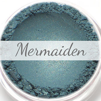 "Eyeshadow Sample - ""Mermaiden"" - teal with flecks of gold shimmer - Mineral Eyeshadow (Vegan) Mineral Makeup Eye Color Pigment"