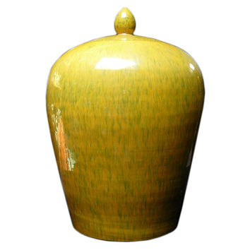 Chinese Hand Glazed Mustard Yellow Porcelain Jar vs715S