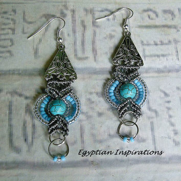 Micro macrame earrings. Turquoise Egyptian style earrings. Macrame jewelry.