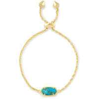 Kendra Scott: Elaina Adjustable Chain Bracelet In Bronze Veined Turquoise