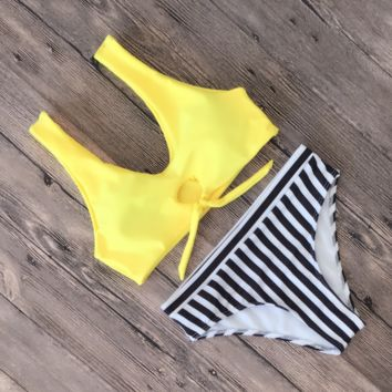 Summer New Fashion Solid Color Stripe Vest Two Piece Bikini Swimsuit Yellow