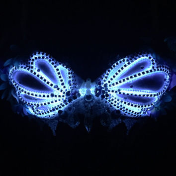 LED Opal-Pastel Mermaid Seashell Bra (LED lights): rave wear, festival, edm, rave bra, edc, electric mermaid, kandi, plur, coachella, NYE
