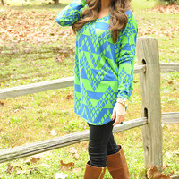 Piko Boo Tunic: Lime Green/Blue