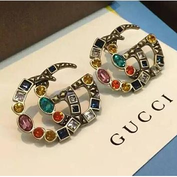 GUCCI Hot Sale Stylish Women GG Colorful Diamond Crystal Earrings Accessories Jewelry