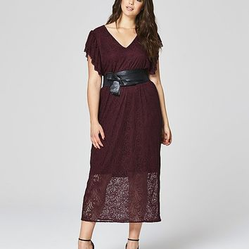 Simply Be Frill Sleeve Lace Dress | SimplyBe US Site