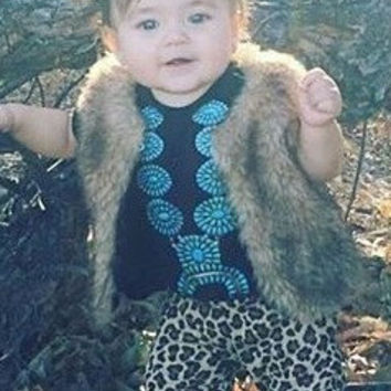 BLACK Native American turquoise squash blossom necklace baby bodysuit Onesuit Cowgirl Southern Babe Western Infant Boho Bohemian Hippie