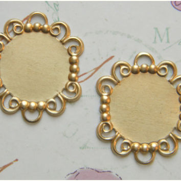 Raw Brass Round Bezel Setting Photo Pendant Frame 18mm - 4 pcs.