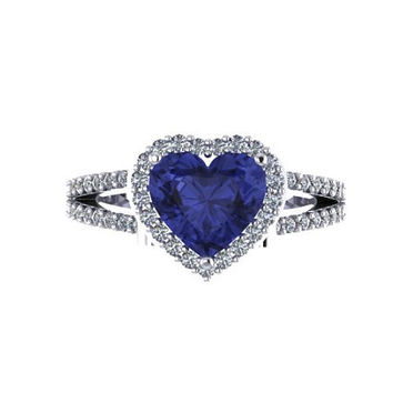 Diamond Engagement Ring Heart Shaped Blue Sapphire Engagement Ring 14K White Gold with 8x8mm Blue Sapphire Center - V1083