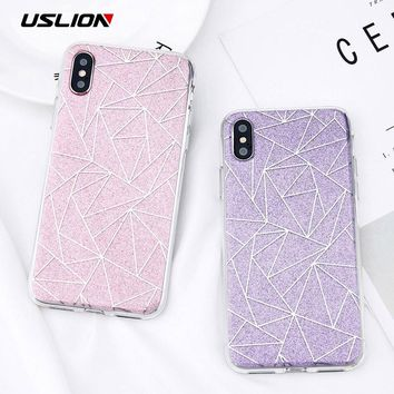 USLION Glitter Bling Powder Phone Case For iPhone X Geometric Lines Hard PC Back Cover Cases For iPhone 8 7 6 6s Plus 5 5s SE