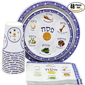 "Passover Paper Goods Seder Plate Design Party Set - 9"" and 7"" Plates, Cups, and Napkins - 48 Piece Set, Serves 12 People"