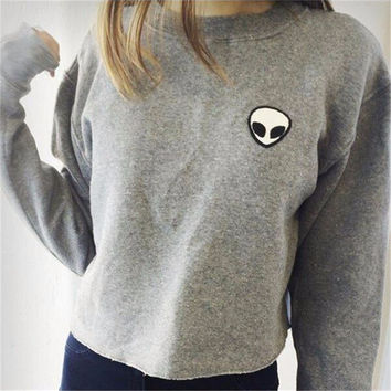 Free Shipping 2016 Winter Autumn Embroidery Alien UFO Tumblr Printed Short Female Fashion Thicken Warm Women Sweatshirts Hoodies
