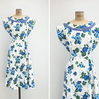 1950s Dress - Vintage 50s Cotton Floral Dress - Royal Garden Dress