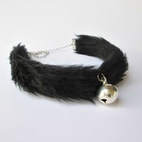 Black Fur Bell Choker, Kitten Play Collar Bell, Furry Neko Kitty Collar Cosplay, Kitty Bell Choker, Lolita Collar Faux Fur