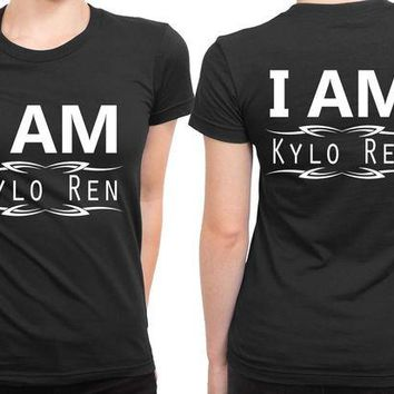 DCCKG72 Star Wars The Force Awakens I Am Kylo Ren Black And White 2 Sided Womens T Shirt