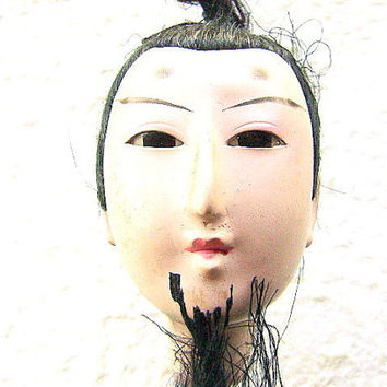 Vintage Japanese Doll Head Hina Matsuri Man Body Part 78 Years Old (S363)