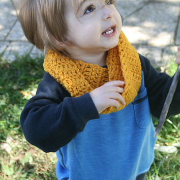 Toddler Baby Infinity Scarf Mustard Yellow Children Clothing Toddler Fashion Crocheted Scarf Wrap Warm Cozy Trendy Fashion Accessory