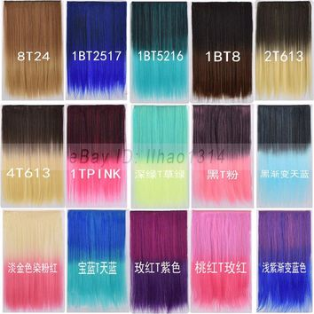 Women's Hair Extension One Piece 5 Clips Long Straight 2 Tones Ombre Hairpieces