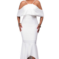 White Ruffled Sleeves High-low Hem Party Maxi Dress