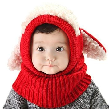 DreamShining Christmas Baby Hats With Ears Newborn Beanie Knitted Caps Hooded Scarf Earflap Cap Warm Shawl Girls Boys Hat Scarf