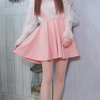 Flouncy two piece outfit with pink brace skirt and blouse