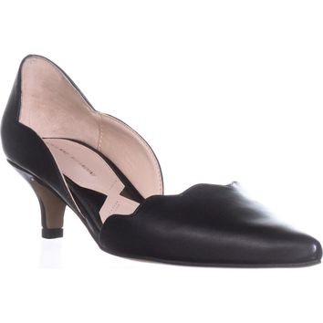 Adrienne Vittadini Serene Scallopped Kitten Pumps, Black Leather, 7.5 US