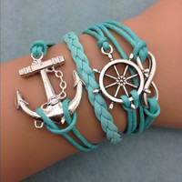 Teal Anchor & Wheel Infinity Bracelet