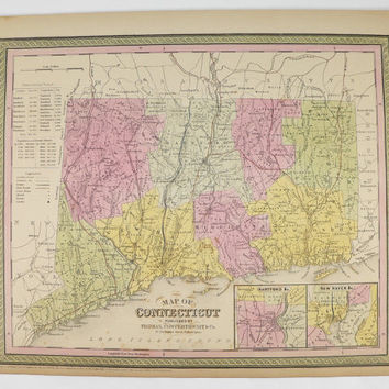 Original Antique Map of Connecticut 1852 Mitchell Cowperthwait Connecticut Map, CT Map, Connecticut Gift for Her, Wedding Gift for Couple