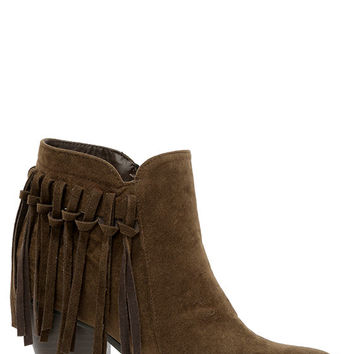 Fringe Factor Brown Suede Fringe Booties