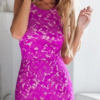 Say You Will Fuchsia Pink Scallop Lace Spaghetti Strap Scoop Neck Halter Open Back Bodycon Mini Dress