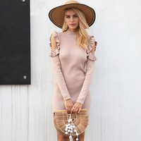 Cold Shoulder Ruffle Knitted Elegant Long Sleeve Winter Dress