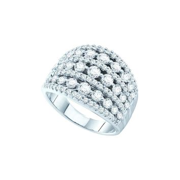 14kt White Gold Womens Round Pave-set Diamond Wide Cocktail Band Ring 3.00 Cttw