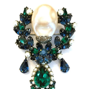 Vendome Dangle Brooch/Pendant, Large Hard to Find Brooch,  Faux Baroque Pearl Green and Blue Rhinestones, Gunmetal Finish,