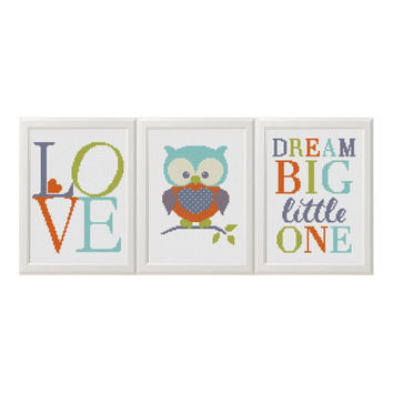 Baby cross stitch pattern Owl animals set of 3 Dream Big Little One Playroom Decor Modern Cross stitch Nursery Wall Art For Kids Room