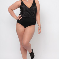 Plus Size Accordian Cross Front Bodysuit - Black