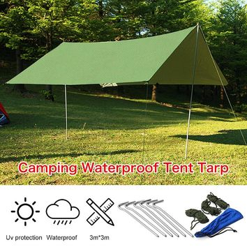 3mx3m Waterproof Sun Shelter Tarp Survival Camping Climbing Outdoor Tent Patio top Sun Shade Awning Canopy Garden tent Shade