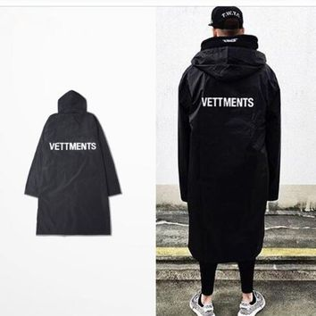 new Men's Vetements Rain Coat Kanye West Bomber Jacket Streetwear Long Hoodies Men Hip Hop Windbreaker Oversized Brand Clothes