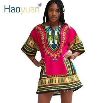 DCCKH0D HAOYUAN Dashiki Dress 2018 African Woman Traditional Print Short Sleeve Bazin Riche T-shirt Clothing African Dresses For Women