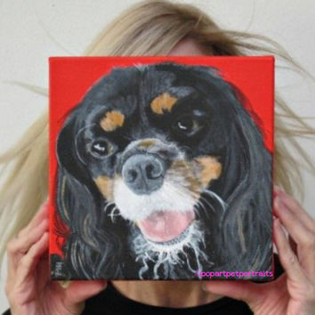 Custom pet portrait Dog painting Personalized dog painting Custom dog Portraits Paintings of Dogs, Dog Art Cavalier King Charles